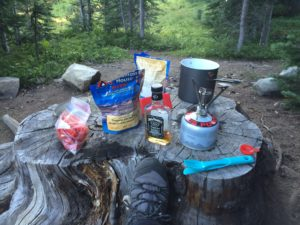 Making dinner on our overnight hike on the heather trail