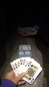 Evening card games on our overnight hike on the heather trail