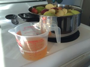 Preparing apples to make sugar free applesauce