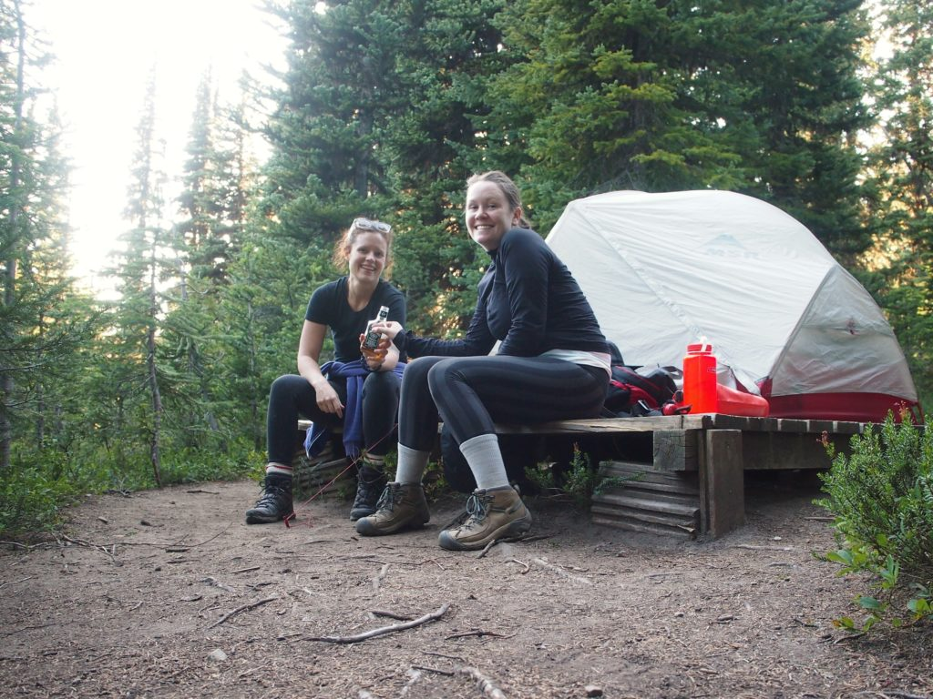 Our well deserved whiskey sip on our overnight hike on the heather trail