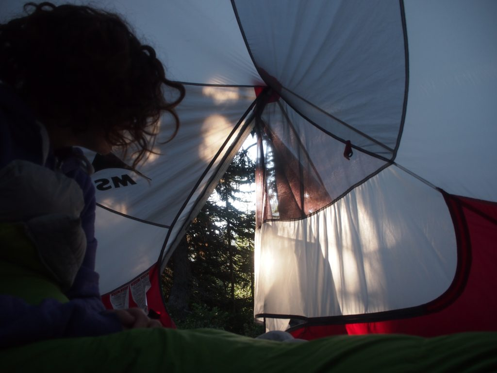 Waking up in the kicking horse wilderness campsite on the heather trail