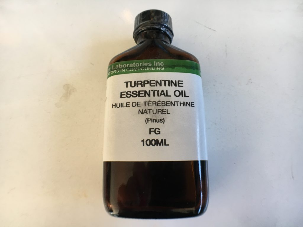 Turpentine oil to treat a maggot infestation