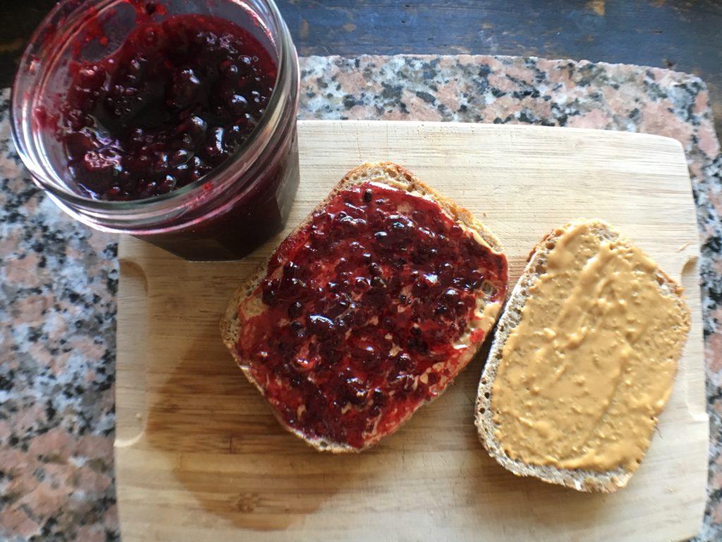 Serving the homemade blackberry basil jam on homemade sourdough toast