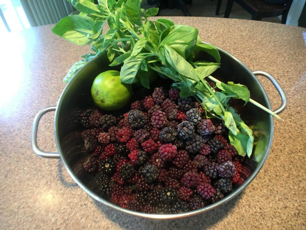 Making homemade blackberry basil jam